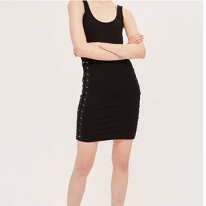 TOPSHOP Scoop Neck Bodycon Dress with Lace Sides Size 4P